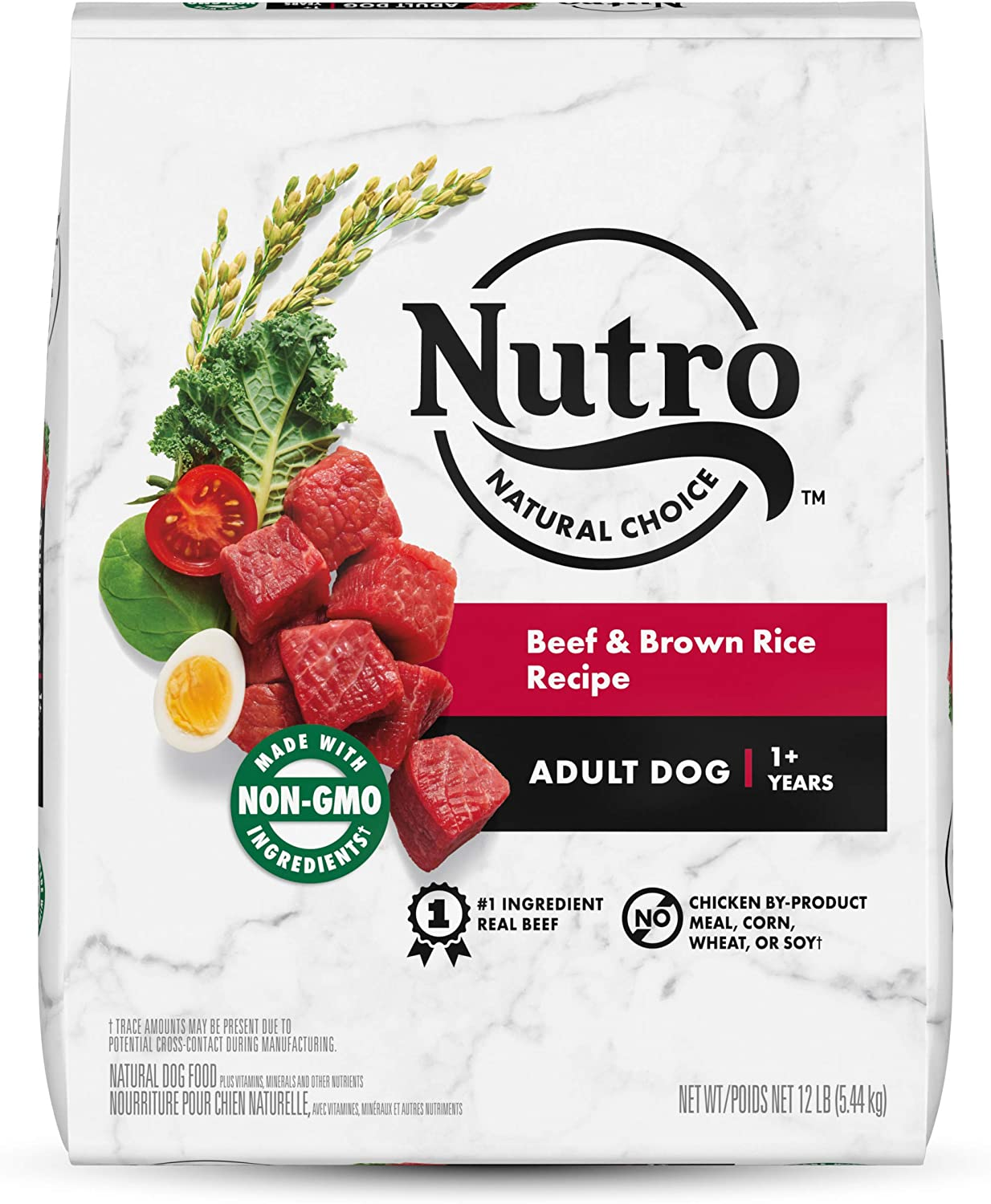NUTRO Natural Choice Adult Dry Dog Food, Beef & Brown Rice Recipe Dog Kibble, 12 lb. Bag