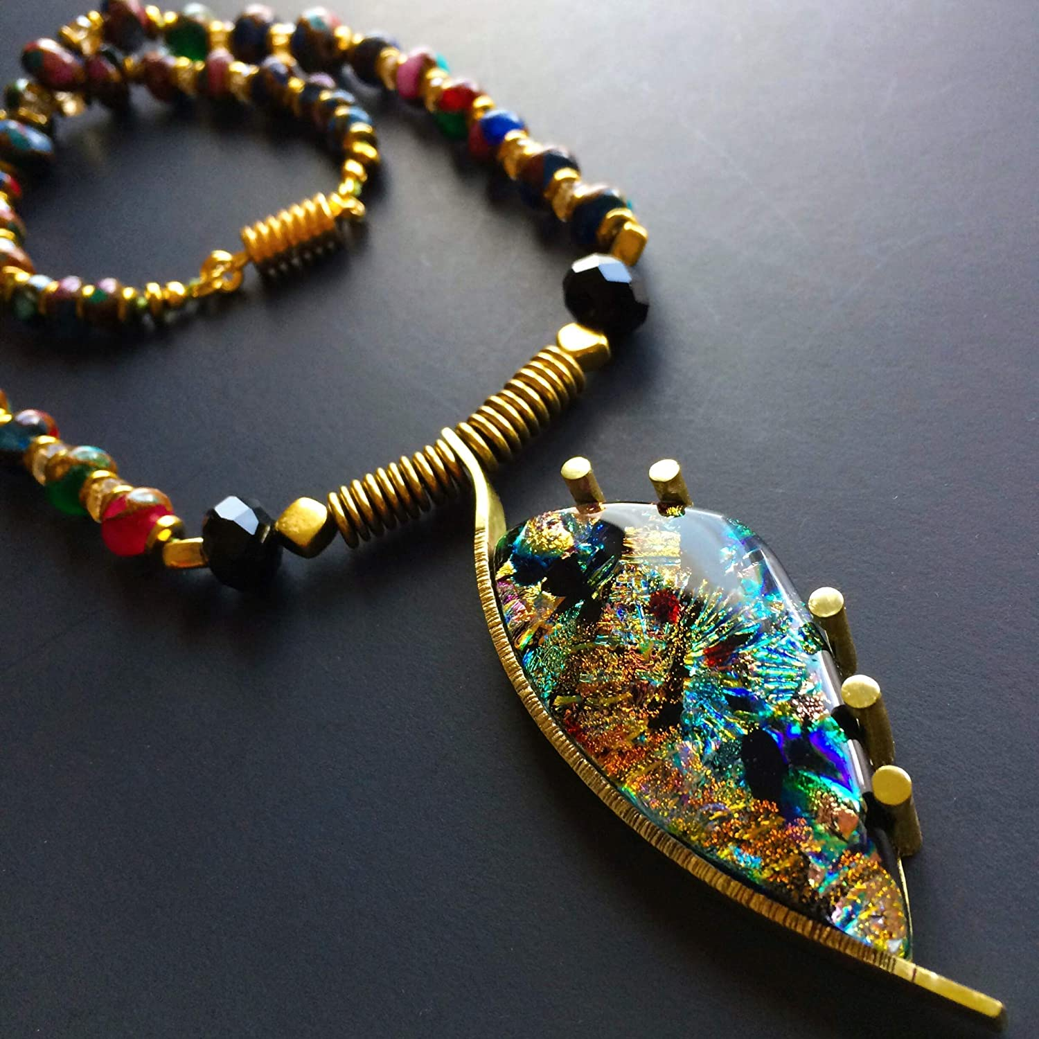 Dichroic Glass Jewelry, Dichroic Glass Necklace Dichroic Glass Pendant