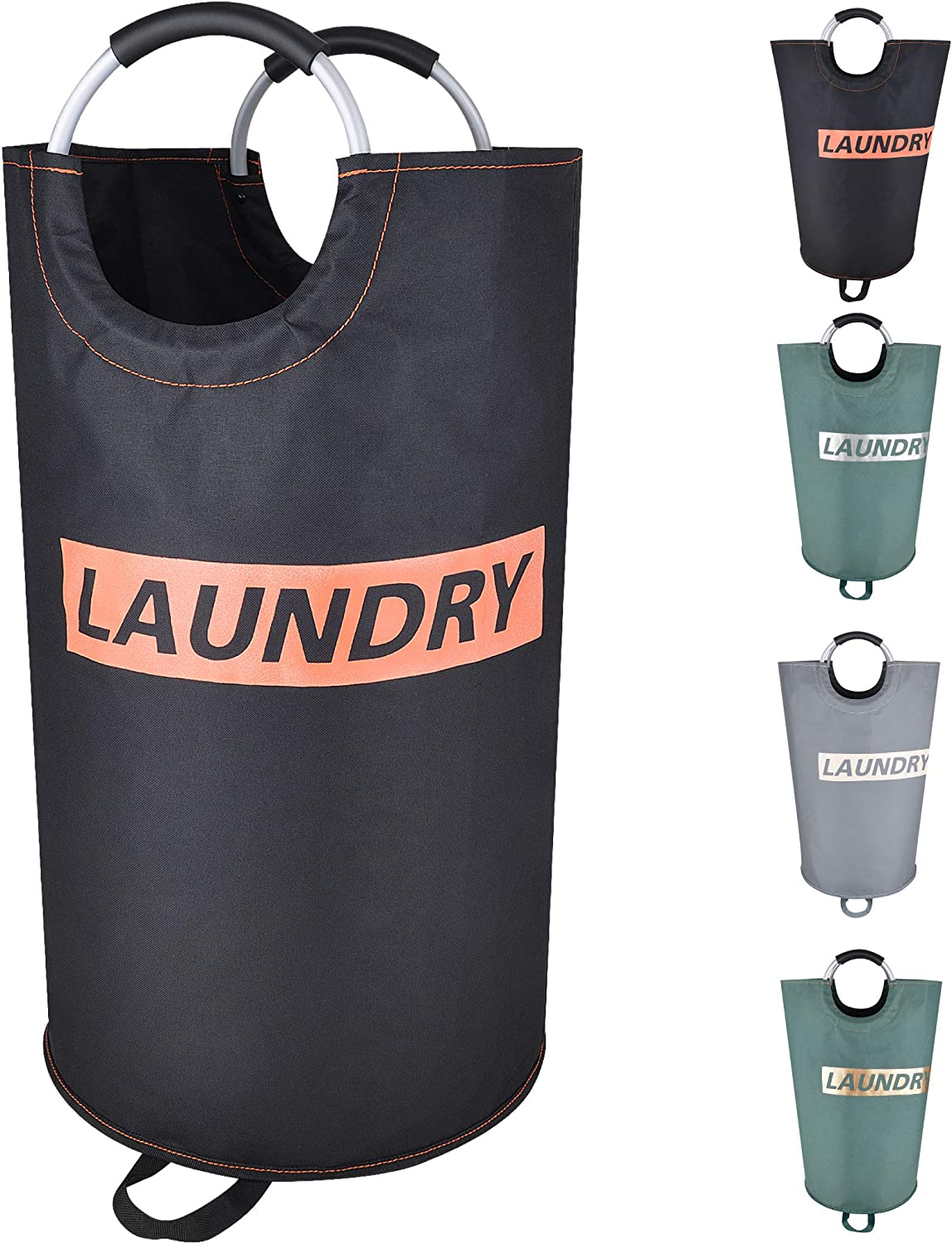 DOKEHOM 115L X-Large Laundry Basket with Coin Bag, Collapsible Fabric Laundry Hamper, Foldable Clothes Bag, Folding Washing Bin (Black&Orange, XL)