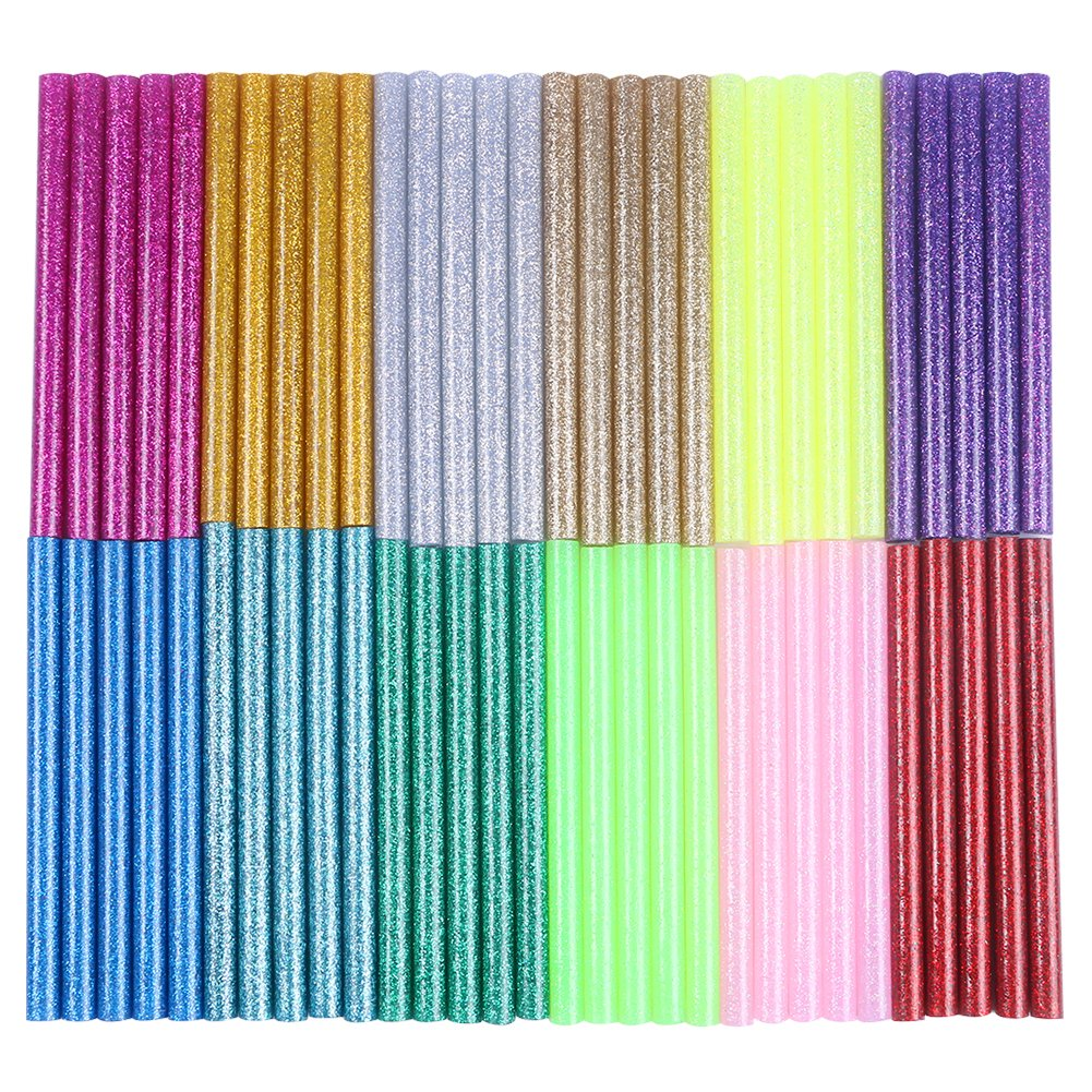 CCMART 12 Colors 60Pcs Hot Glue Gun Sticks 7mm by 10cm Hot Melt Glue Sticks Mini Glitter for DIY Art Craft Woodworking