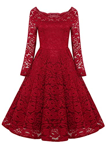 SYLVIEY Womens Off Shoulder Lace Wedding Homecoming A-Line Cocktail Dress