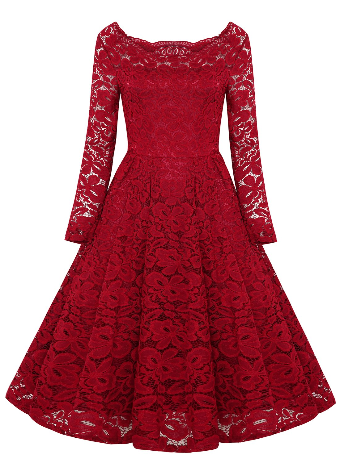 REMASIKO Womens Off Shoulder Lace Wedding Homecoming A-Line Cocktail Dress Burgundy Large