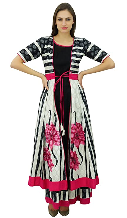 Bimba Frauen Designer 2 Stück Kurti Maxi-Kleid Indische ...