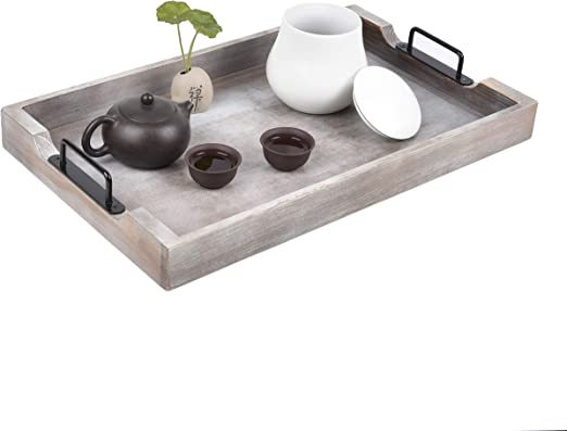 Large Ottoman Tray With Handles 20x12 Inch Wood Trays For Coffee Table Farmhouse Tray For Ottoman Wooden Serving Trays For Ottomans Wood Tray Ottoman Trays Home Decor