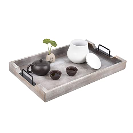 Admirable Large Ottoman Tray With Handles 20X12 Inch Wood Trays For Coffee Table Farmhouse Tray For Ottoman Wooden Serving Trays For Ottomans Wood Dailytribune Chair Design For Home Dailytribuneorg