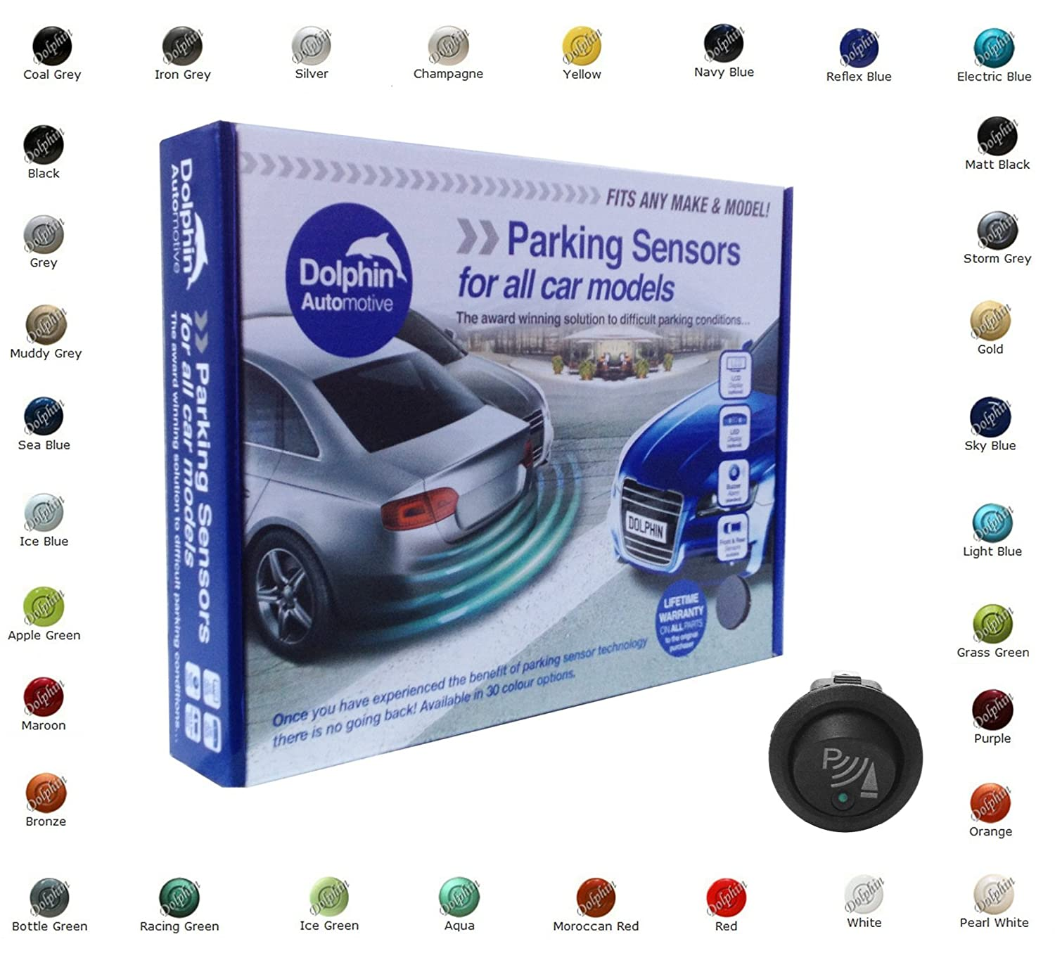 Dolphin Car Van Front Parking Sensors With Longer 6m Leads and Parking Switch in 32 Coloured Options UK (Gloss Black) Dolphin Automotive DPS400F