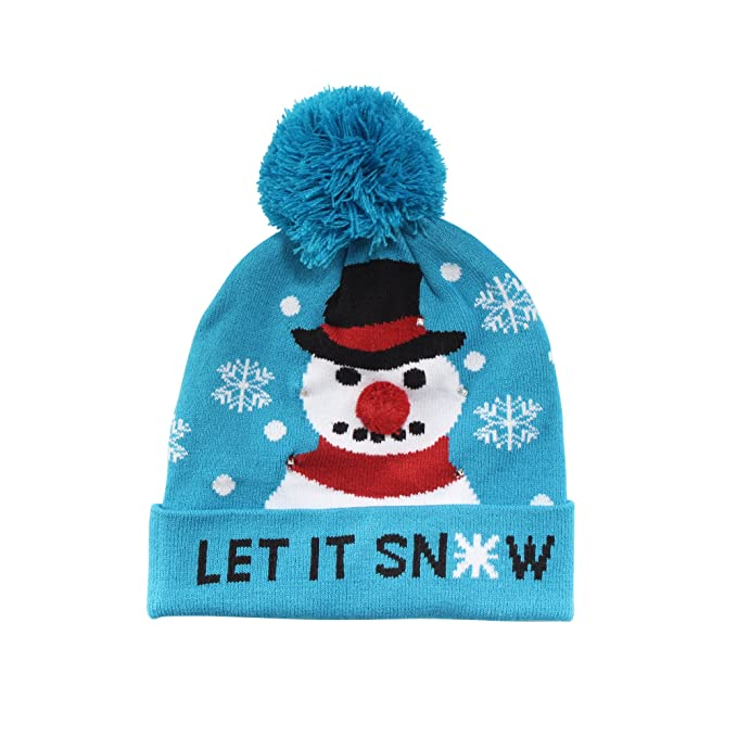 4260c4d680945 Cozy Winter Christmas Theme Hat - Snowman - Light up LED Holiday Hat – Cute  Ugly