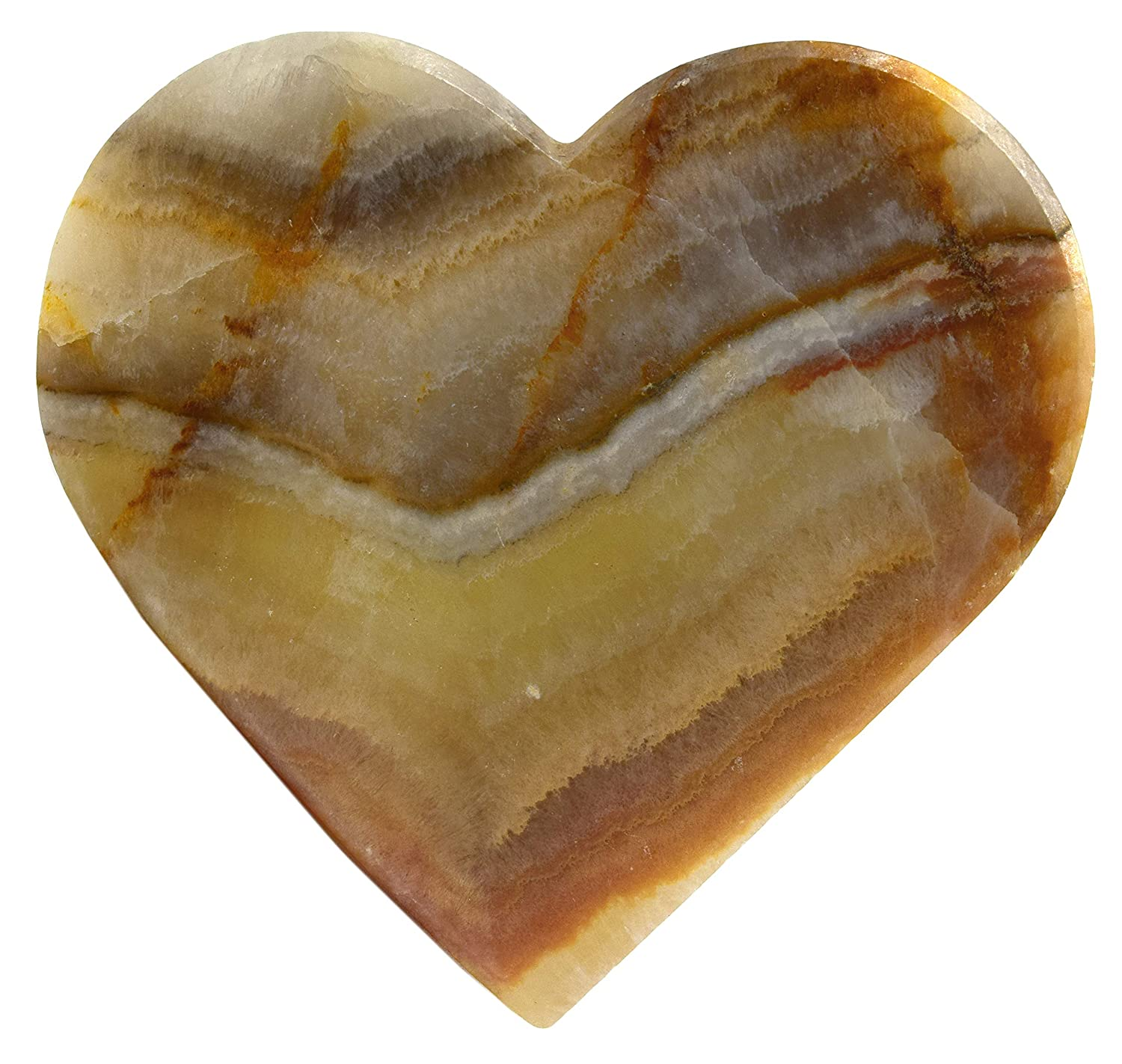 The Artisan Mined Series by hBAR 3 Wide 0.25 Tall 0.3lb 3 Long - Carved from Real North American Onyx Aragonite Earthen Green Onyx Aragonite Heart Figure