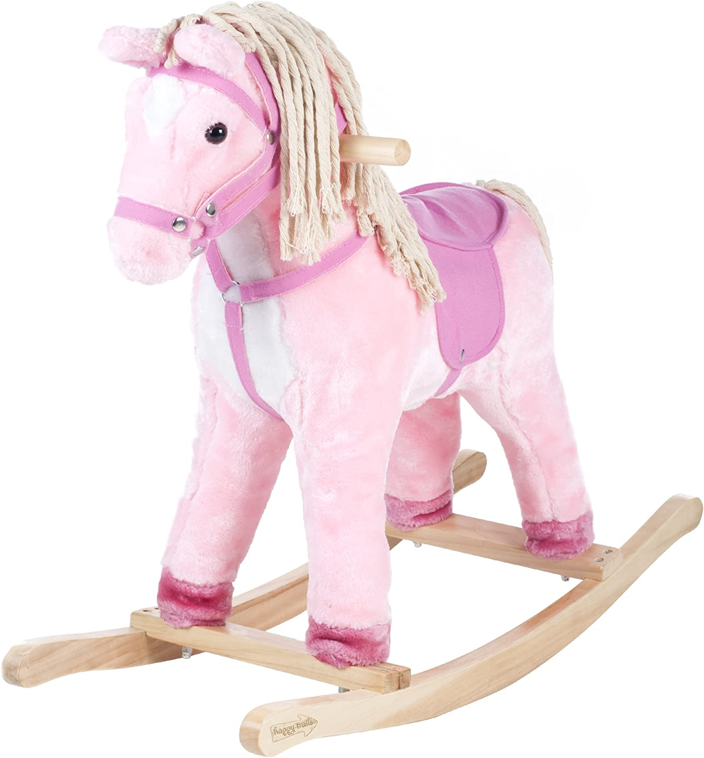 Happy Trails Patty The Pony Ride On with Cotton Hair Tail, Pink