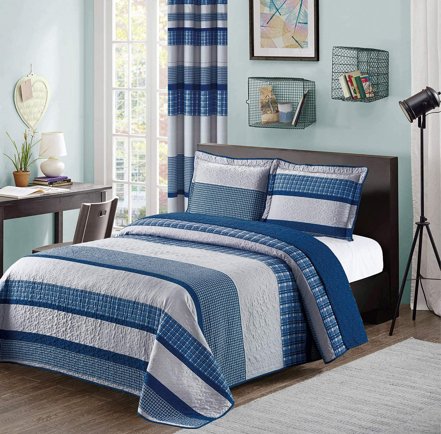 all american collection blue and gray modern plaid bedspread and pillow sham set matching curtains available king cal king size