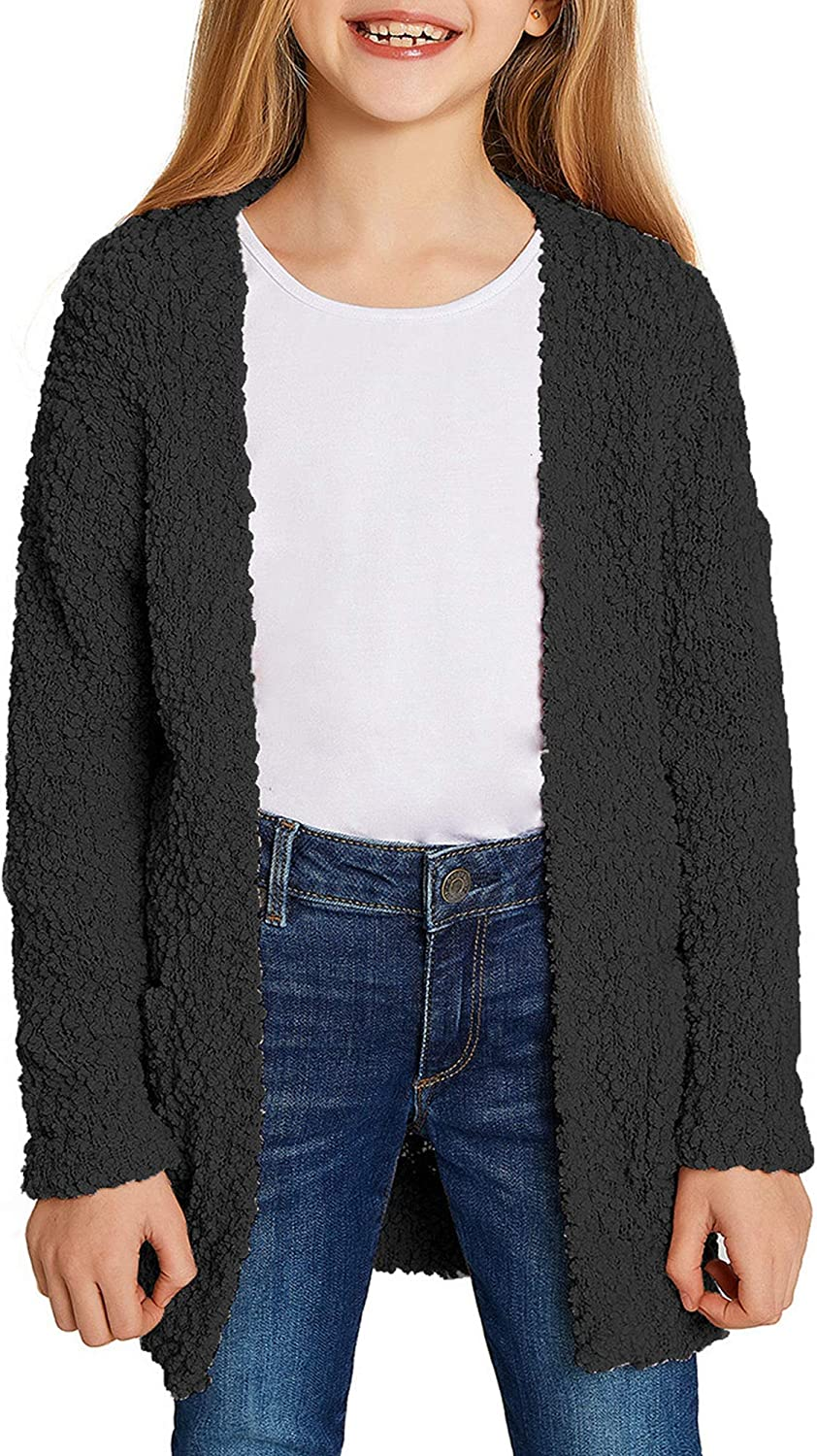 LookbookStore Girls Open Front Knit Cardigan Be super welcome Sweater Luxury Oute Pocket