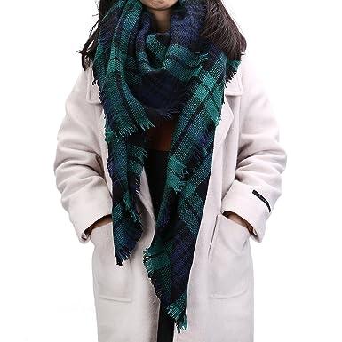 FENTI Echarpe Surdimensionné XXL pour Femme Foulard Tartan Epais Cache-col  Châle Ecossais à Franges 140cm 140cm Vert  Amazon.fr  Vêtements et  accessoires 6dec839121f