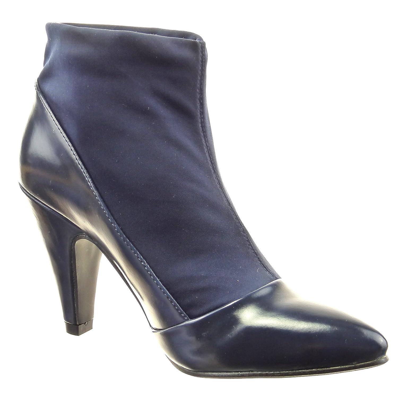 Sopily Zapatillas de Moda Botines Flexible A Medio Muslo Mujer Brillantes Talón Tacón Ancho Alto 9 cm - Azul FRF-4-XF223 T 37 0rldh