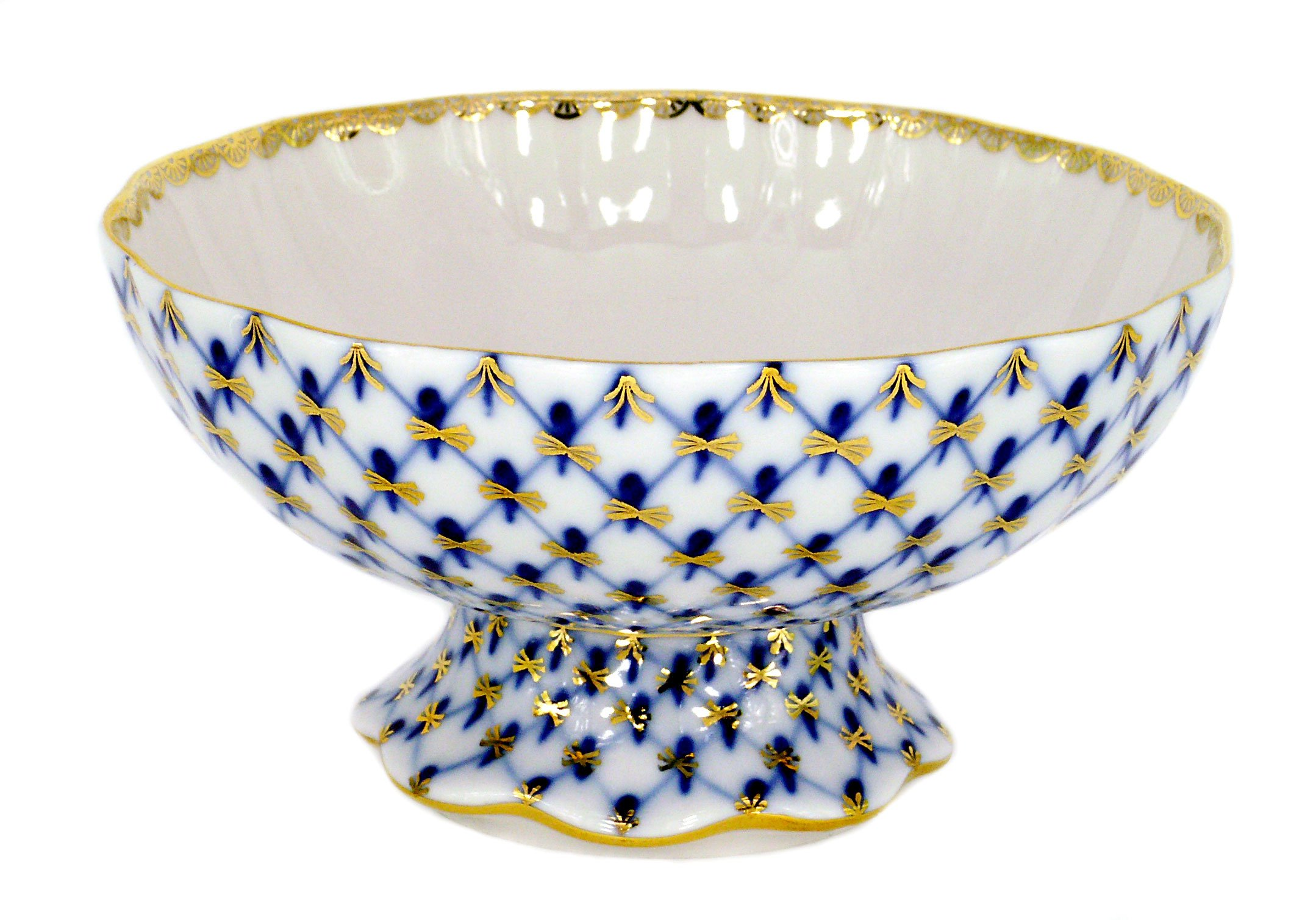 Lomonosov Porcelain Cobalt Net Candy Jam Confectionery Vase