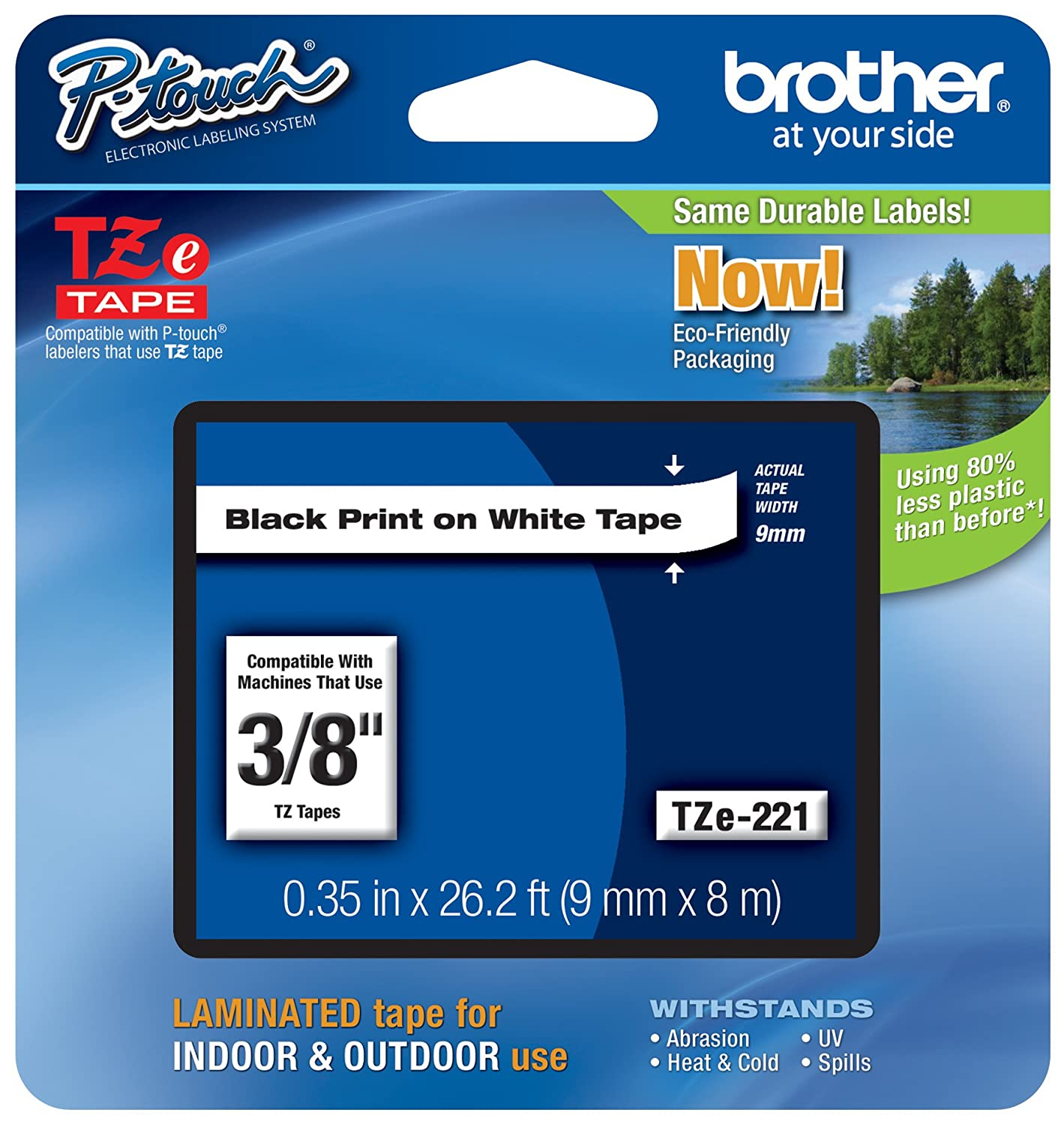 Black on White Single-Pack Laminated for Indoor or Outdoor Use 0.23 Water Resistant Standard Laminated P-touch Tape 8M 26.2 Feet Brother Genuine P-touch TZE-211 Label Tape 1 1//4