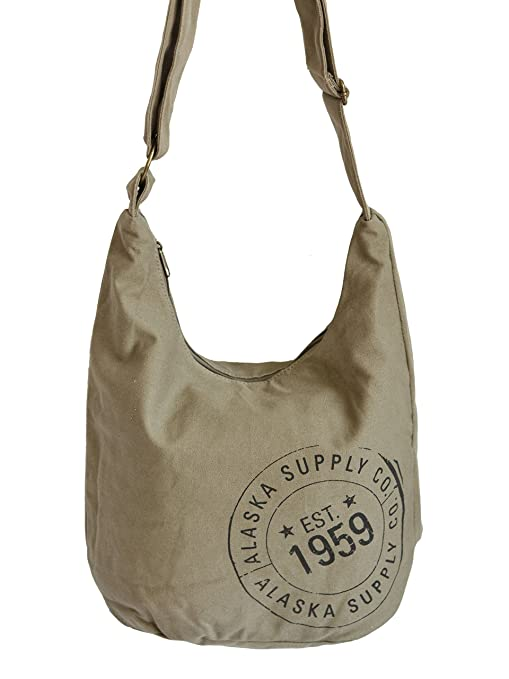 Amazon.com  McGovern   Company Alaska Supply Stamp Canvas Boho Bag ... 03bb883560029