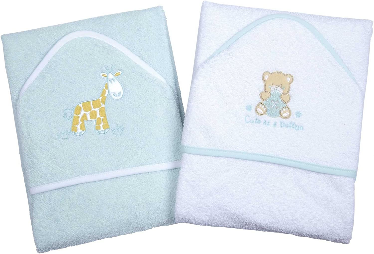 100/% Cotton In Pink or Blue with Cute Animal Appliques A Set of Two Luxury Hooded Baby Bath Towels