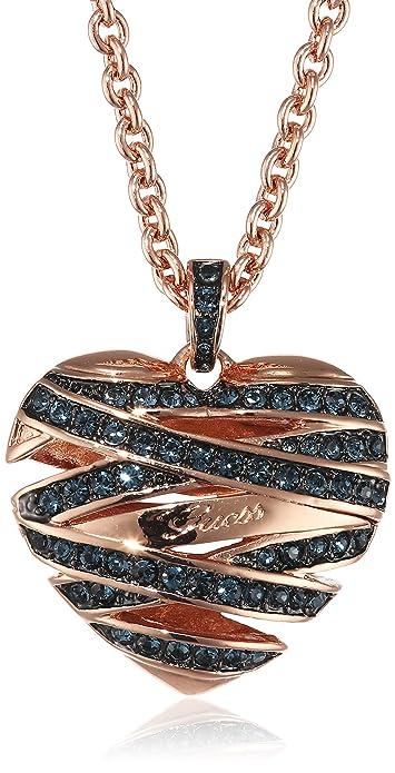 Guess Women's Necklace with Pendant Heart Brass Glass Blue 81cm M5S90HOhrj
