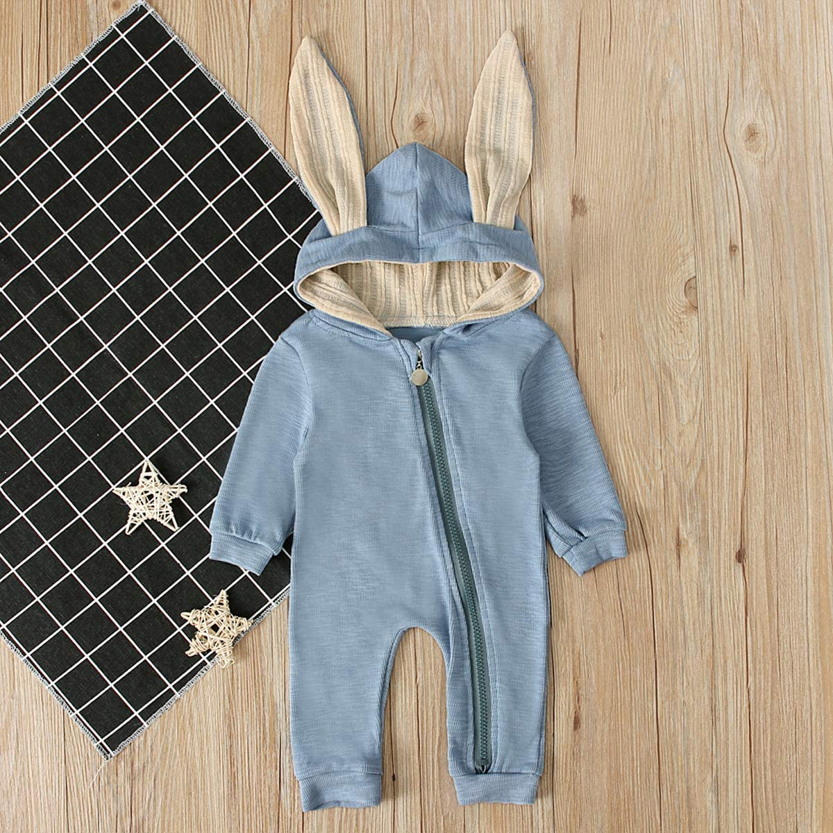 Toddler Baby Boy Girl Long Sleeve Jumpsuits Hooded Bunny Ears Fleece Romper Fall Winter Clothes Outfits Set
