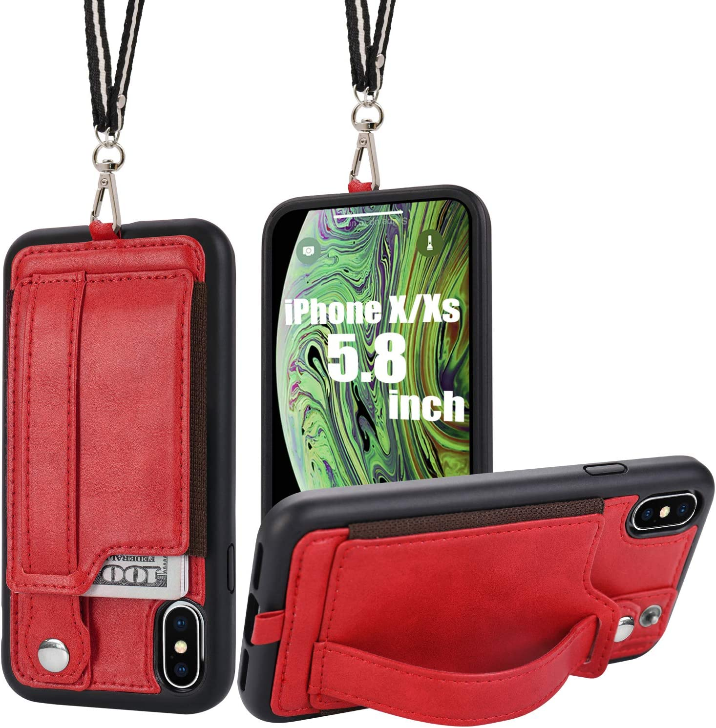 TOOVREN iPhone X/Xs Wallet Case Phone Lanyard Neck Strap iPhone Xs / 10 Protective Case Cover with Stand Leather PU Card Holder Adjustable Detachable iPhone Lanyard for Anti-Theft and Activity Red