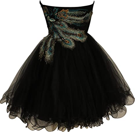 Amazon.com: Metallic Peacock Embroidered Holiday Party Homecoming Prom Dress: Clothing