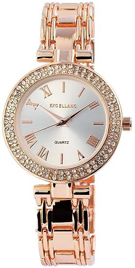 Reloj Mujer Plata Rosado. Oro Analog Brillantes Metal Reloj de Pulsera