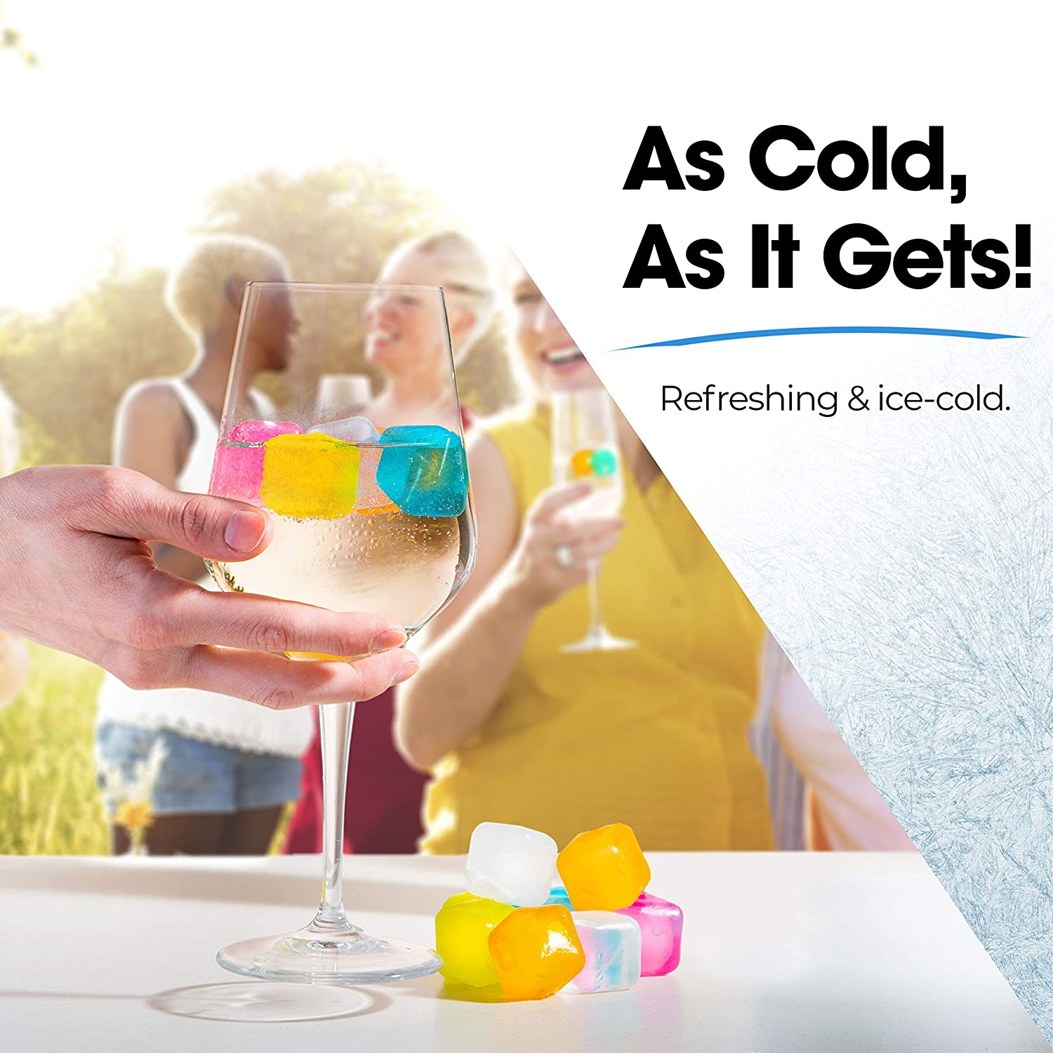 Chills Drinks Without Diluting Them Pack Of 20 With Storage Tube Reusable Ice Cubes For Drinks Made From BPA Free Plastic Refreezable For All Beverages Washable Quick And Easy To Use
