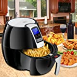 Super Deal 1500W Electric Air Fryer W/Temperature Control, Timer, 8 Cooking Presets 3.7-Qt W/Digital Display (Black)