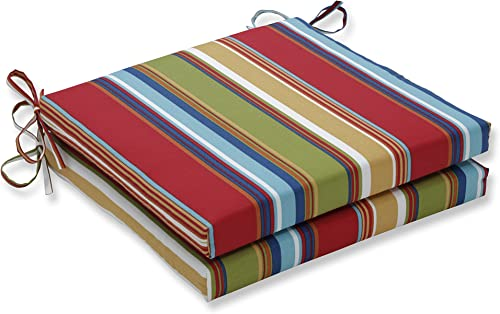 Pillow Perfect Outdoor Indoor Westport Garden Squared Corners Seat Cushion 20x20x3 Set of 2 ,Multicolored