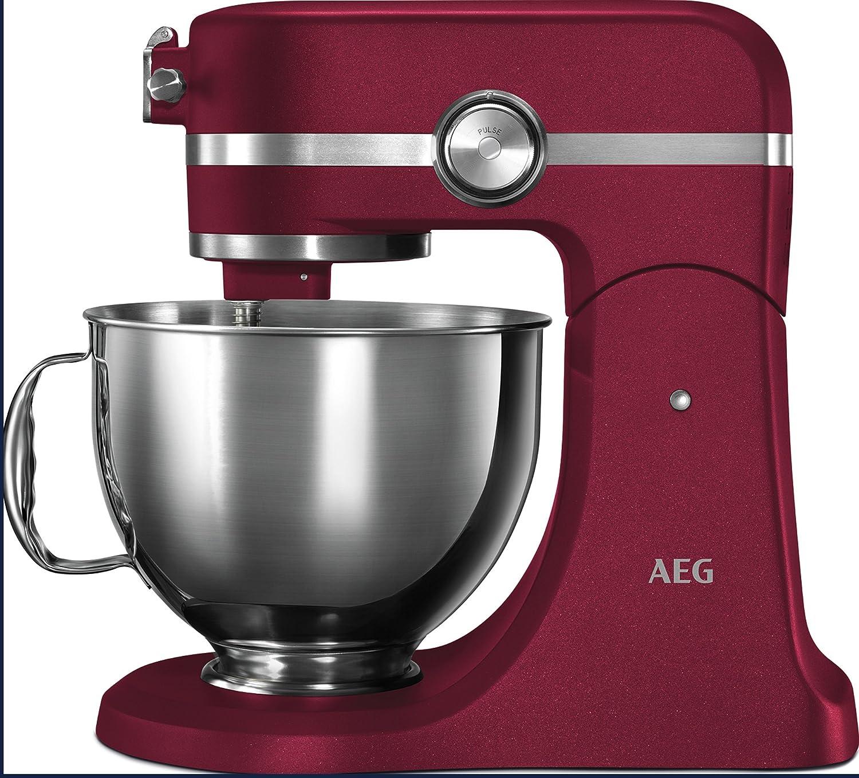 AEG KM5520 Robot de Cocina con Bol Batidora, Amasadora, Apta para Lavavajillas, Dos Boles , 10 Velocidades, Iluminación LED, Múltiples Varillas,1200 W,de 2.9L y 4.8L,Rojo: Amazon.es: Hogar