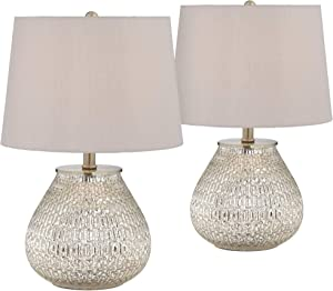"""Zax Country Cottage Accent Table Lamps 19 1/2"""" High Set of 2 Mercury Glass Teardrop Gray Drum Shade for Bedroom Bedside - 360 Lighting"""