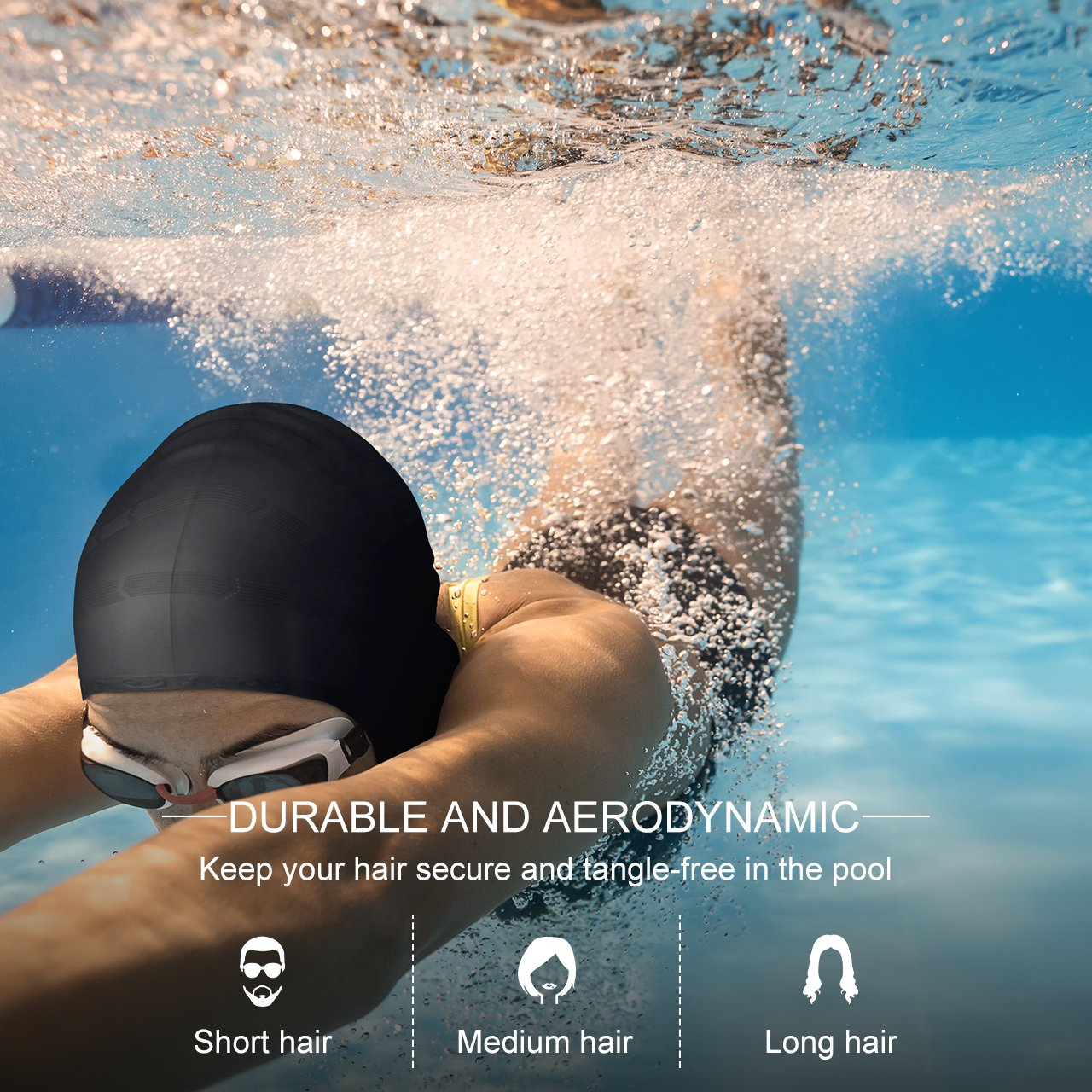 58d64d64835 OMORC Silicone Swimming Cap, [2019 New Version] Anti-Tear Ergonomic Pockets  to Cover Ears, Long Hair, Thick or Short-Average/Large Heads for Woman, Man,  ...