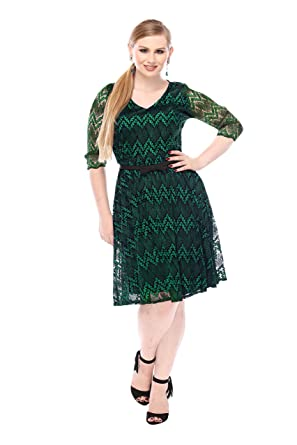 6ec9959c0b2 Gabby Skye Women s Elbow Sleeve Green Lace Party Dress- Cocktail Dress (12