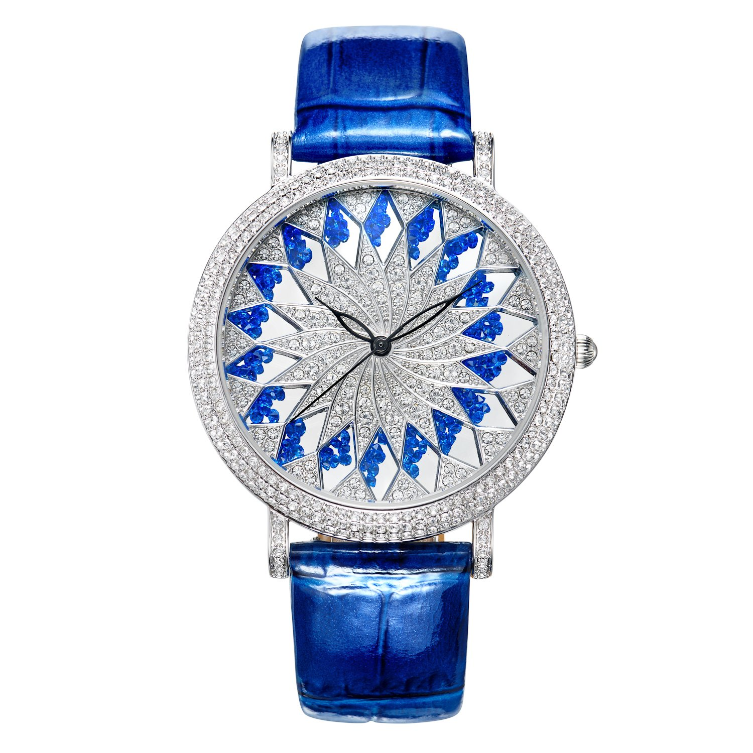 Matisse Fashion Schneeflocke Full Kristall Zifferblatt & Fall Damen Fashion Strap Quarz Leder Armbanduhr - blau