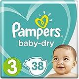 Pampers Baby-Dry Windeln Größe3 (6–10kg), Luftkanäle für atmungsaktive Trockenheit die ganze Nacht, Sparpack, 1er Pack (1 x 38 Stück)