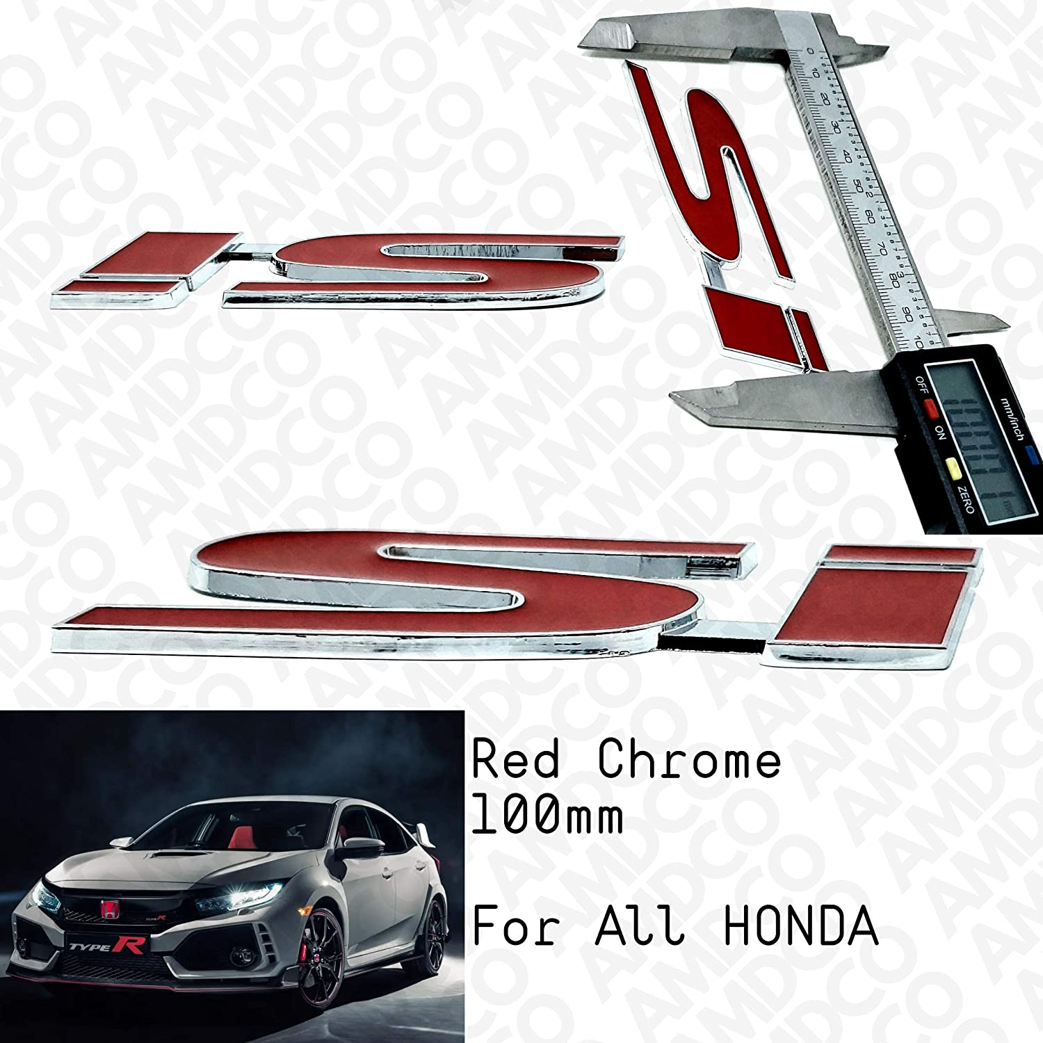 AMD SI RED Emblem Badge Stickers Decals with Strong 3M Includes instructions MEASURE Before Purchase Fitment Top Quality fit For CIVIC ACCORD SI etc RED CHROME pack of 1