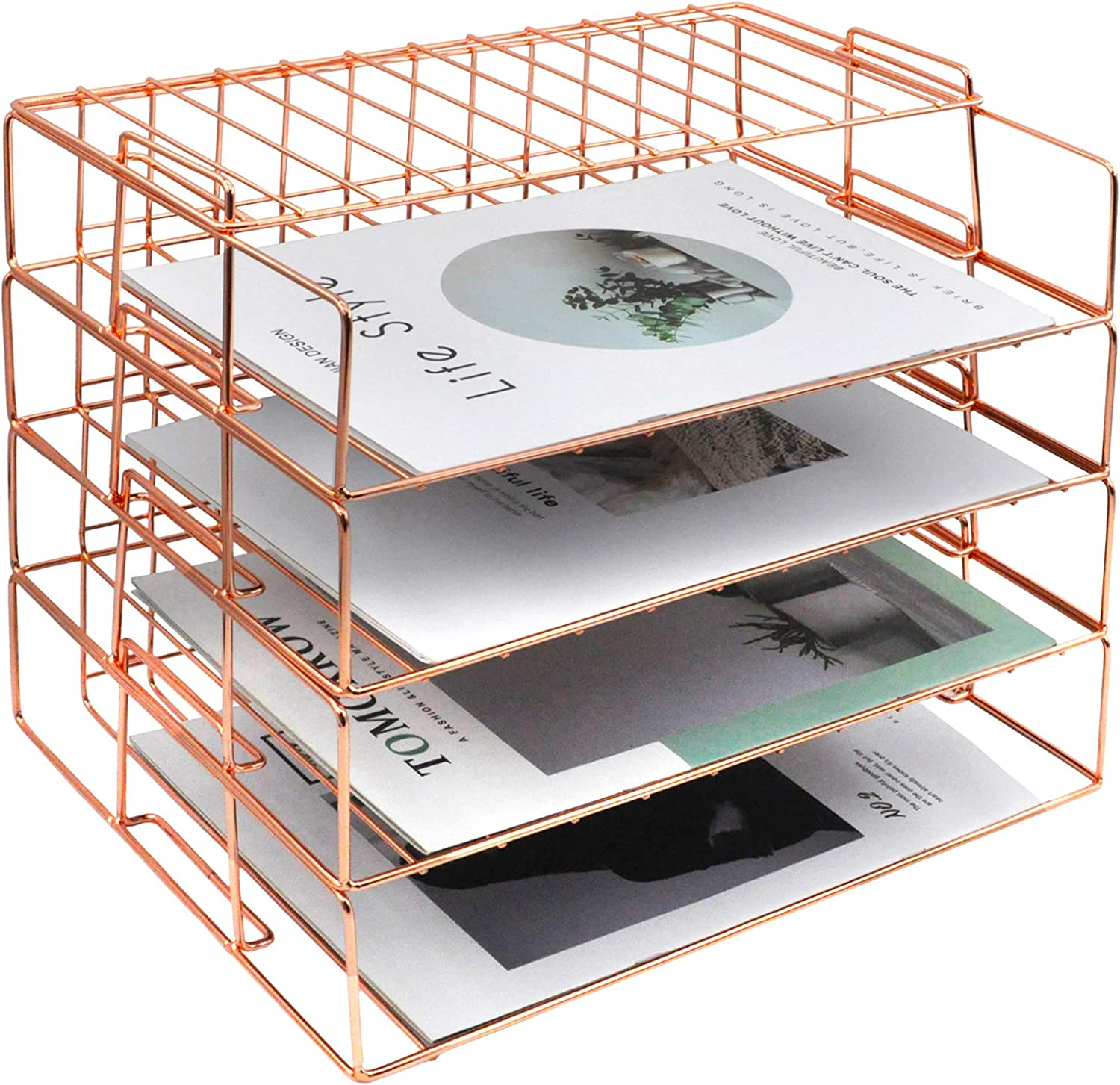 COSYAWN Letter Tray, 4 Tier Rose Gold Desk Organizers for Women, Stackable Paper Tray Desk File Organizer Rack for Office Supplies and Accessories
