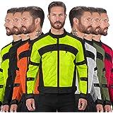 Jaqueta masculina Viking Cycle Ironside de malha têxtil para motocicleta – Ajustável, CE Aprovado Armadura respirável para mo