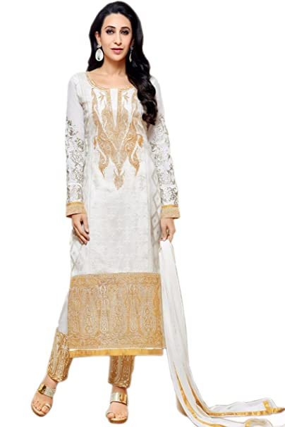 f69e8289e Ramazan Special - Lebaas White Heavy Embroidered Women s Georgette Semi  Stitched Designer Suit for Party Wear