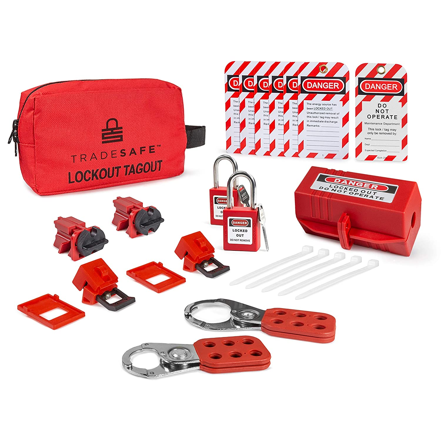 TRADESAFE Electrical Lockout Tagout Kit - Hasps, Clamp on and Universal Multipole Circuit Breaker Lockouts, LOTO Tags, Plug Lockout, Safety Padlocks Set | OSHA Compliance for Lock Out Tag Out Stations