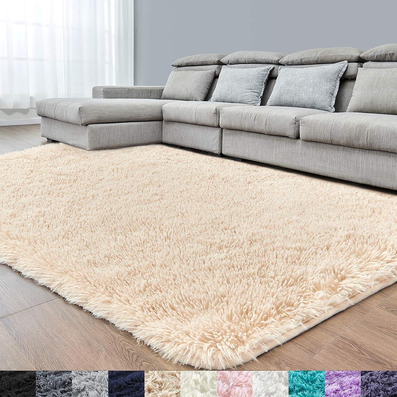 Beige Super Soft Area Rug for Bedroom,6x9,Fluffy Rugs,Shag Carpet for Living Room,Furry Rugs for Girls Boys Room,Shaggy Rug for Kids Baby Room,Nursery,Dorm,Big Rug,Non-Slip Rug,Beige Carpet,Rectangle
