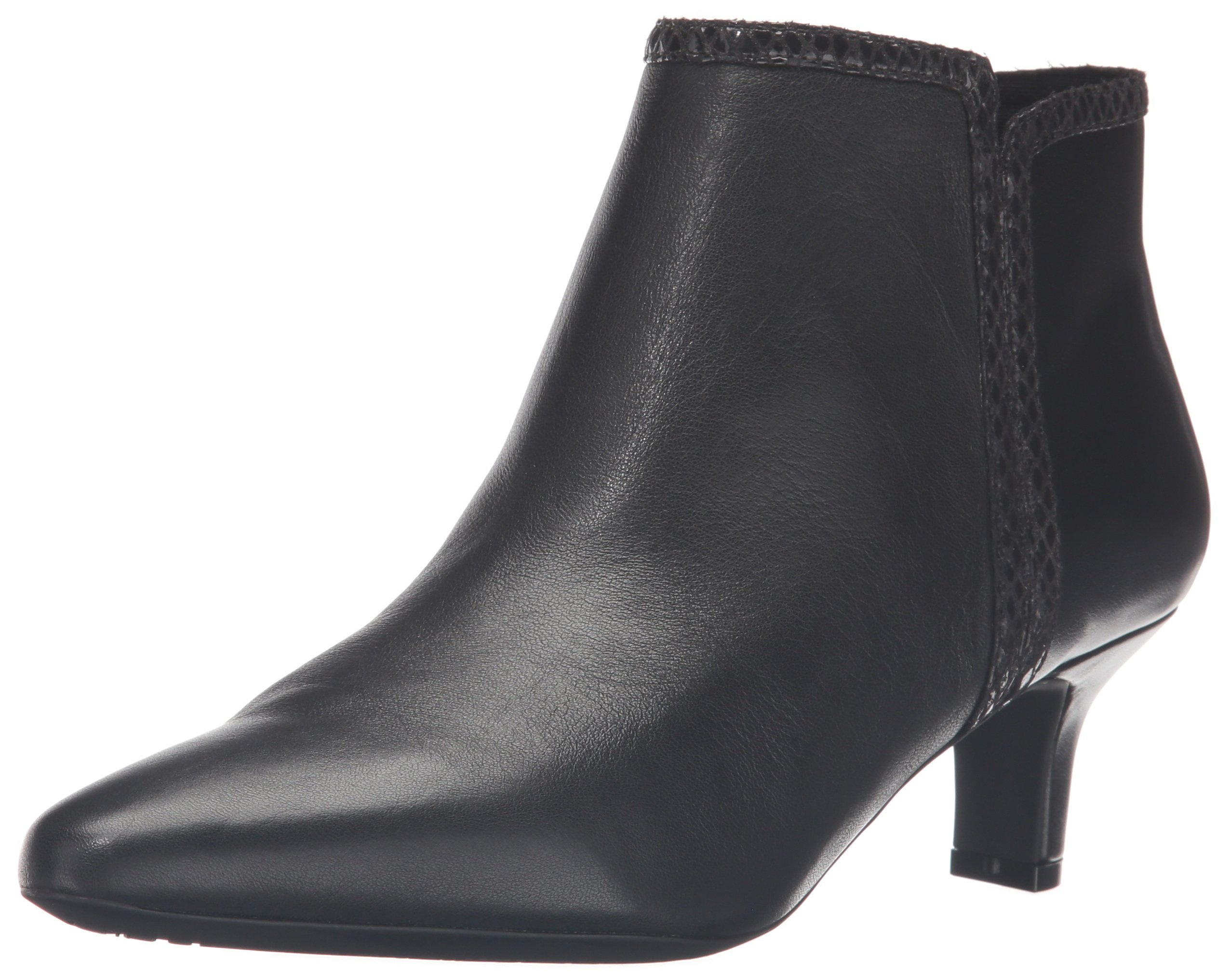 Rockport Women's Kimly Ankle Bootie, Black Leather, 8.5 W (C)