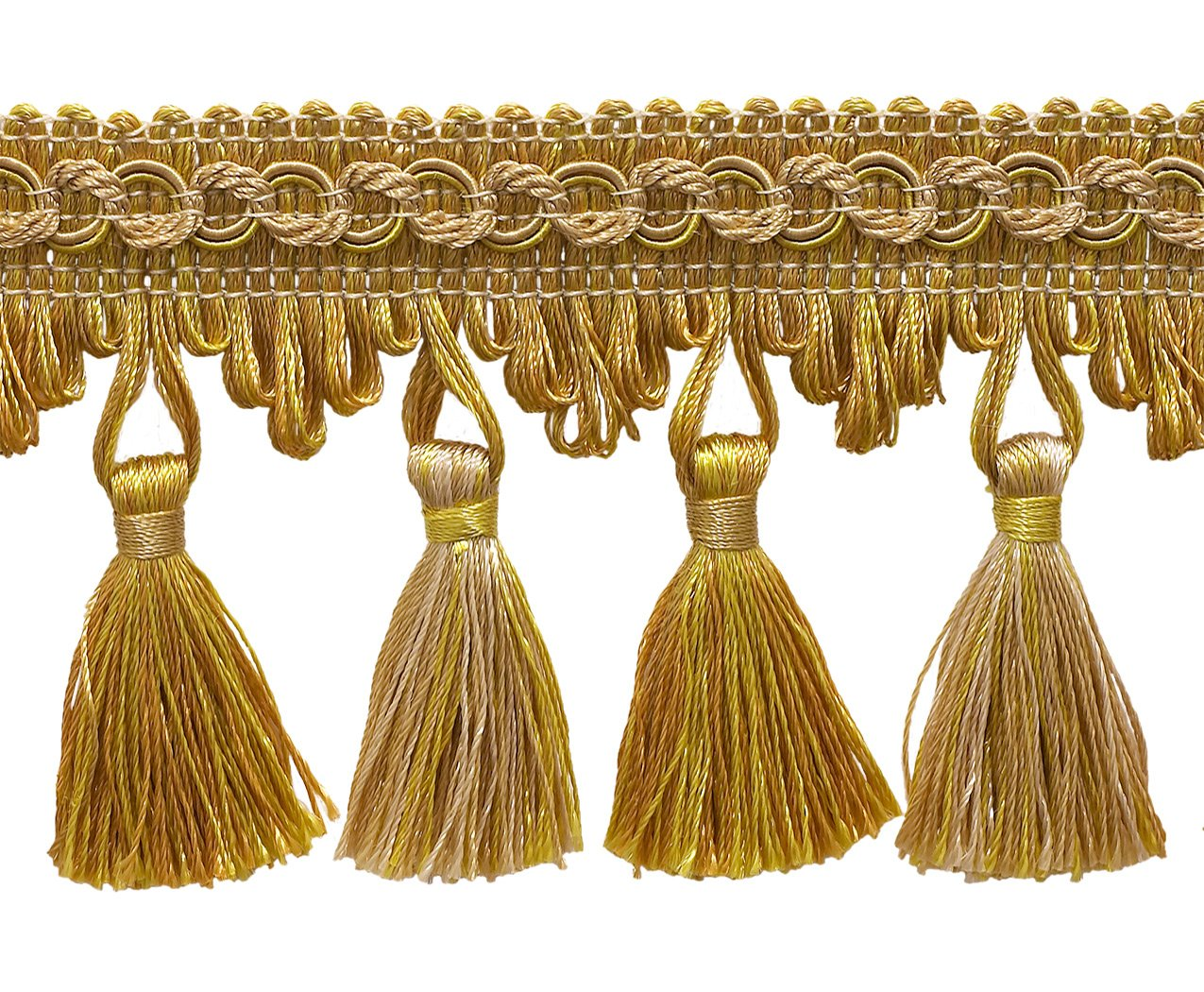 5 Yard Value Pack of Antique gold 2 3/4 Imperial IITassel Fringe Style# NT2502 Color: RUSTIC GOLD - 4975 (15 Ft / 4.5 Meters) DecoPro