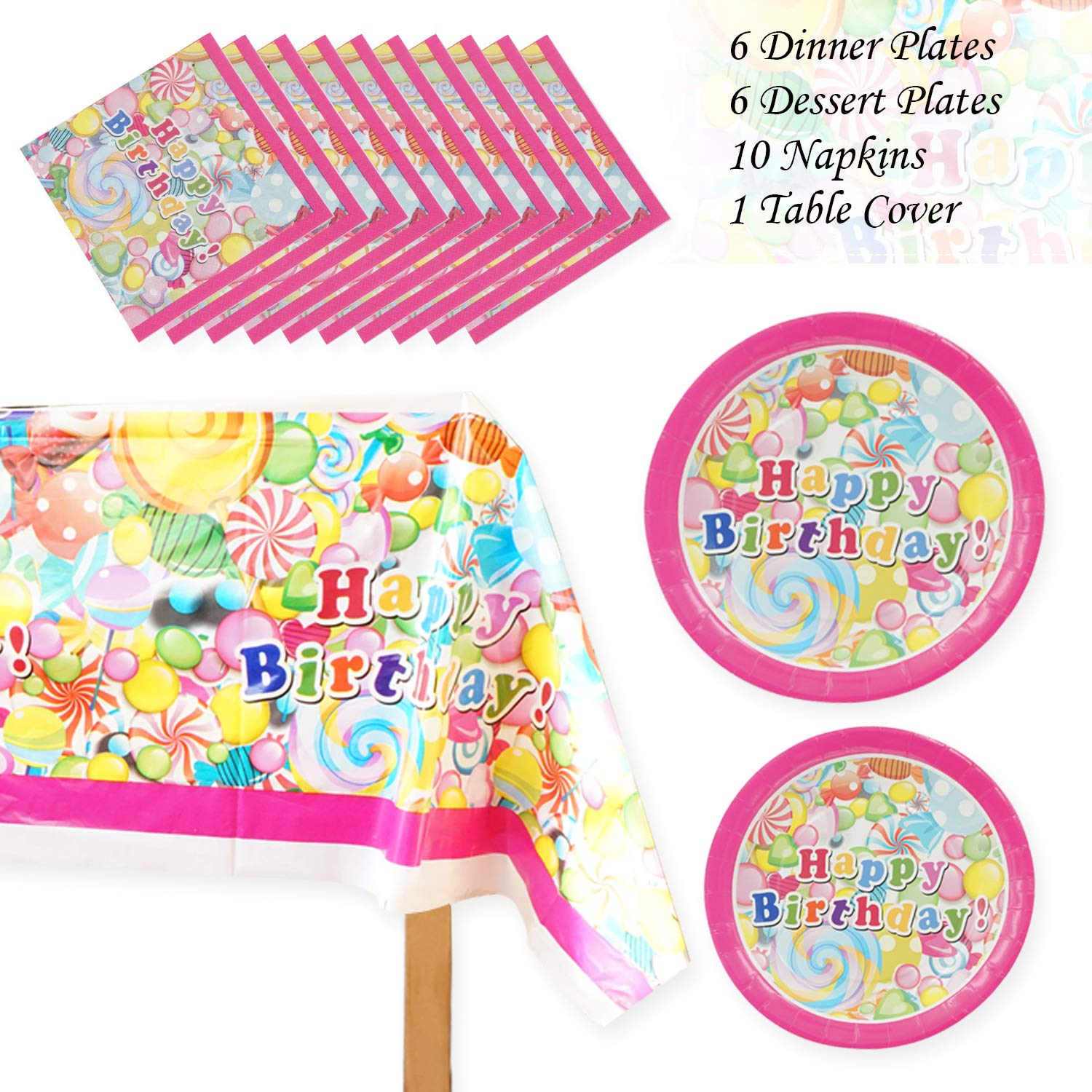 Themed Party Gift for for Cute Fairy Fantasy Girls Tablecloth Happy Birthday Party Decoration Cups Plates Hats Invitation Cards Eichzhushp All-in-One Party Supplies Set Pack Include Banner