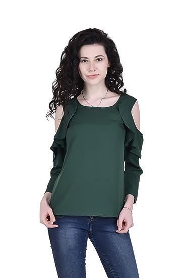 053abd01be9e7 VAANYA Women s Rayon Bell Sleeve Plain Casual Tops T-Shirt …  Amazon ...