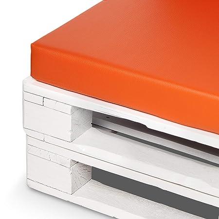 Conjunto colchonetas para sofas de palet y respaldos (2 x Unidades) Cojin relleno con espuma.Color Naranja   Cojines para chill out, interior y ...