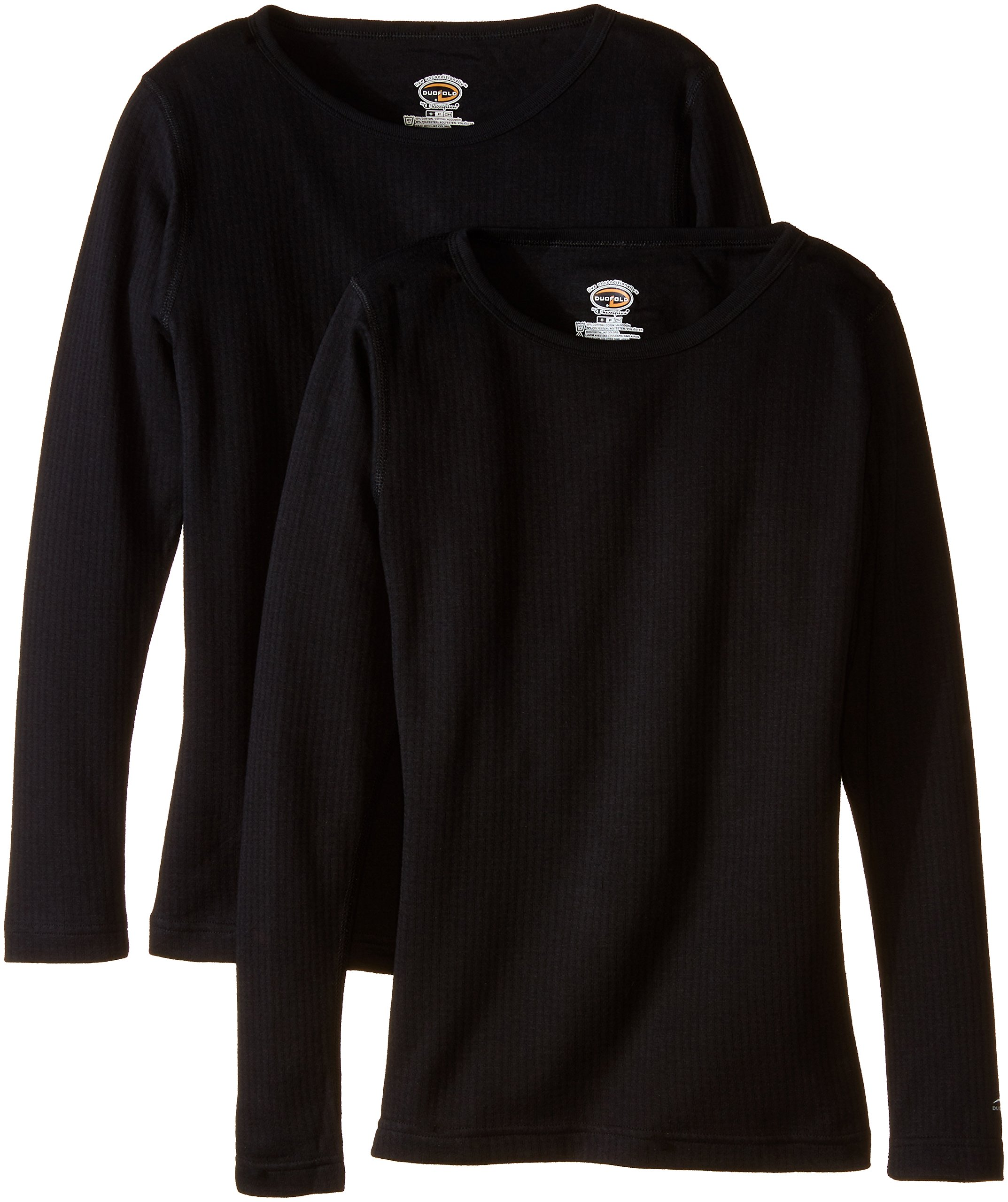 Duofold Women's Mid Weight Wicking Thermal Shirts (Pack of 2), Black, Medium