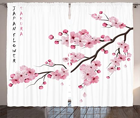 Light Pink Curtains Asian Decor By Ambesonne, Japanese Cherry Blossom  Branches With Blooming Flowers Spring