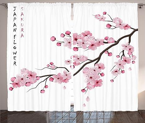 Amazon.com: Ambesonne Light Pink Curtains Asian Decor ...
