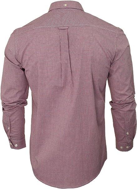 Ben Sherman - Camisa de cuadros con cuello con botones, manga larga rojo S: Amazon.es: Ropa y accesorios